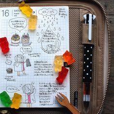 お誕生日ディナーはグミの雨の日。昔ろくにフランス語が話せなかった時にクマのグミを綺麗に並べてもぐもぐ食べてたのが印象的だったらしく、今になってもネタでクマのグミをくれるチョコ両親さん(笑) #hobonichi #ほぼ日手帳 #絵日記倶楽部 #ほぼ日 #手帳 #絵日記 #日記 もうそろそろ鍵外しても大丈夫かな? もう少し待つか?( ´・ω・`)