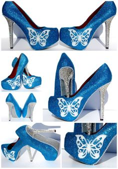 Turquoise Blue Butterfly Heels 