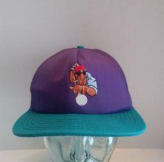 0c901db2411ba VTG Joe Camel SnapBack Hat Embroidered Logo Baseball Cap Purple USA Promo  90s Seattle Mariners