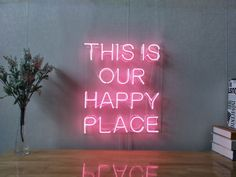 This is Our Happy Place Real Glass Neon Sign For Bedroom Garage Bar Man Cave Room Home Decor Handmade Artwork Wall Lighting Includes Dimmer Neon Signs Home, Led Neon Signs, Neon Light Signs, Neon Wall Signs, Neon Sign Bedroom, Quotes For Bedroom Wall, Neon Lights Bedroom, Neon Quotes, Man Cave Room