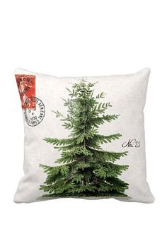 Pillow Cover Holiday Christmas Tree Green Pillow Cotton and Burlap Pillow