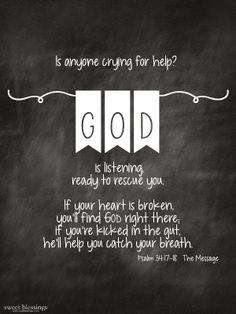 Sweet Blessings: God is Listening Free Printable Psalm 34:17-18