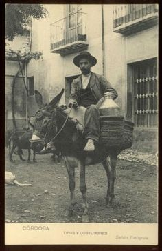 CORDOBA, SPAIN ~ NATIVE VENDOR & HIS DONKEY ~ c. 1910's.       Propiedad y cortesía de Archivos Rodríguez LLC, archivofotograficodepuertorico.com