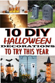 Halloween DIY Decor ideas that will be great for decorating your home this year! Dollar Store Halloween, Halloween Signs, Diy Halloween Decorations, Halloween Crafts, Halloween Stuff, Halloween Pumpkins, Diy On A Budget, Decorating On A Budget, Diy Porch