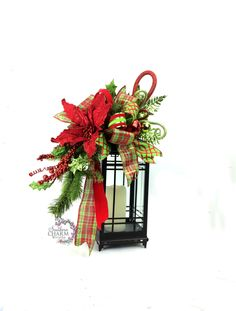 Christmas Lantern Swag in Lime Green Red w Poinsettia Ornaments Bow -Christmas Mantle -Christmas Decor -Christmas Table Decor by SouthernCharmWreaths $49.97 USD #doorwreaths