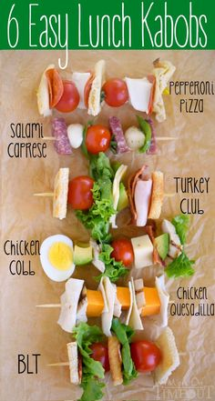 Six Easy Lunch Kabobs that are perfect for back to school! Keep your kids interested and excited for lunch each day with these fun kabobs!: