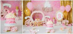 Princess theme pink and gold Cake smash first birthday party. Carriage princess crown gold and pink smash cake theme first birthday party decor