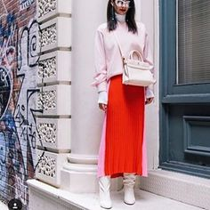 Shades of Red ❤️ @missmondo wearing Zara Two-Tone Dress ( 9874/002 ) #zara #dress #spring #pinkandred #pink #red #dresses #springfashion #whiteboots #streetstyle #casual #outfits #outfitideas #casualstyle #fashion