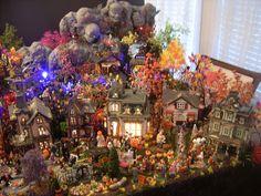 My 2012 village Halloween Village Display, Halloween Decorations, Hawthorne Village, Lemax Village, Halloween 2, Fall Pictures, Christmas Tree, Miniature, Holiday Decor