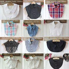 US Women Detachable False Collar Peter Pan Shirt Lapel Choker Necklace Collars Look Fashion, Diy Fashion, Womens Fashion, Fashion Design, Sewing Clothes, Diy Clothes, Collar Shirts, Shirt Blouses, Lace Collar