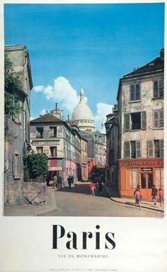 affiche promotionnelle de Paris de la fin des années 50' à 1970, Montmartre