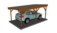 This step by step woodworking project is about free single lean to carport plans. I have designed this sturdy carport with a lean to roof, so you can protect your vehicle from the weather elements. Lean To Carport, Building A Carport, Diy Carport, 2 Car Carport, Carport Plans, Double Carport, Pergola Plans, Shed Plans, Carport Kits