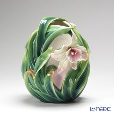Franz Collection Orchid flower design sculptured porcelain vase FZ01997