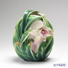 Franz Collection Orchid flower design sculptured porcelain vase FZ01997