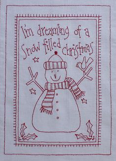 Fabric Patch It's A Redwork Christmas - by Rosalie QuinlanSECONDARY_SECTIONIt's A Redwork Christmas by Rosalie Quinlan BOM Complete pattern set of 9 Stitchery patterns. Primitive Embroidery, Primitive Stitchery, Christmas Embroidery, Hand Embroidery Patterns, Embroidery Applique, Cross Stitch Embroidery, Quilt Patterns, Machine Embroidery, Anni Downs