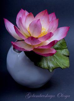 Beautiful sugar lotus by Olesya Golumbevskaya Sugar Paste Flowers, Icing Flowers, Fondant Flowers, Edible Flowers, Felt Flowers, Paper Flowers, Fondant Bow, Fondant Cakes, Fondant Tutorial