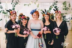 Hoxton Hall Wedding. Possibly the coolest bride + maids ever. Lobster and Bunny ear headdresses and a rabbit ring bearer. http://www.weheartpictures.com/london-hoxton-hall-wedding/