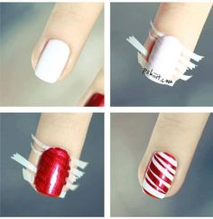 How to make red stripe nail art step by step DIY instructions / How To Instructions