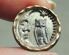 BRASS PICTURE BUTTON ~ CRESCENT MOON & OWL