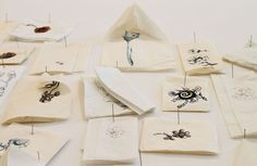 """Jim Hodges, """"A Dairy of Flowers"""" (partial installation view), 1994. Ink on paper napkins"""