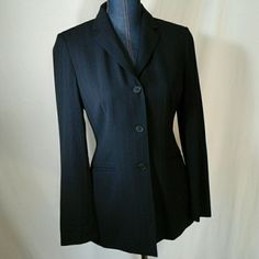Jacket Navy blue pin stripe .  3 button, 50% wool, fully lined Ann Taylor Jackets & Coats