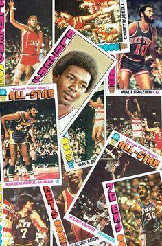 1976 TOPPS  BASKETBALL ALL STARS , ERVING, JABBAR, HAYES, WALTON  (12 CARDS EX+)