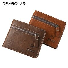 2017 Hot Vintage Male Coffee Leather Wallet Man Retro Card Holder Coin Purse Pockets Wallets Purses with Zip for Men #Affiliate