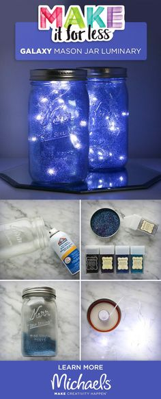 "You'll be over the moon with this fun and easy DIY project! This simple galaxy in ajar ""how-to"" makes for a great gift or home décor piece."