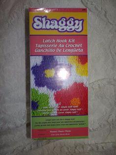 New Latch Hook Kit Craft Caron Flowers Shaggy 12 X 12 Pink Purple Green Yellow #Caron