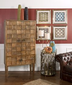 Cahan Wood Tile Armoire from IMAX