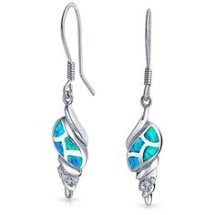 Bling Jewelry Nautical Seashell Synthetic Blue Opal Dangle Earrings... ($35) ❤ liked on Polyvore featuring jewelry, earrings, blue, silver opal earrings, fake earrings, long earrings, seashell earrings and dangle earrings