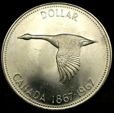 1967 Canada one dollar coin with Canada goose. Silver Dollar Coin, Gold And Silver Coins, Canada 150, Canada Goose, Expo 67, Canadian Coins, Valuable Coins, Silver Bullion, World Coins