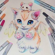 Cute Colored Fantasy Animal Drawings : Cat and Mouse by Lisa Saukel Cute Animal Drawings, Kawaii Drawings, Disney Drawings, Cool Drawings, Marker Art, Copic Marker Drawings, Cat Drawing, Unicorn Drawing, Drawing Ideas