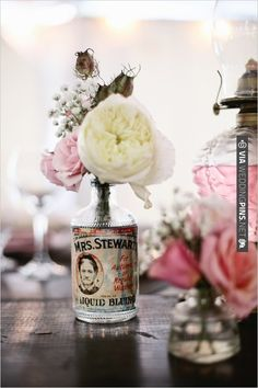 vintage bottle used as vase   CHECK OUT MORE IDEAS AT WEDDINGPINS.NET   #wedding
