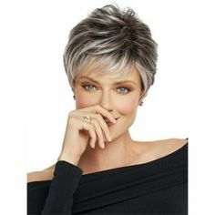 Buy Short Pixie Cut Ombre Silver Grey Wigs Women Natural Gray Hair short wavy wig at Wish - Shopping Made Fun Short Curly Wigs, Short Pixie, Choppy Pixie Cut, Asymmetrical Pixie, Pixie Cuts, Pixie Hairstyles, Short Hairstyles For Women, Short Haircuts, Layered Hairstyles
