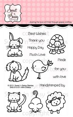 Sweet 'n Sassy Stamps Mini Critters Clear Stamp Set - bjl