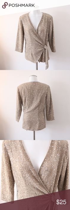 Size 8 Chadwick's Gold Sequin Side Tie Top Size 8 Chadwick's Gold Sequin Side Tie Top - In excellent condition with all gorgeous sequin in tact! This top did go to a dress but that piece does not come with the top unfortunately. This gold top does have shoulder pads, side tie, & small snap buttons up the front. I will mention this top is NOT light weight, it's a bit more heavier due to all the sequins. Bust from underarm to underarm 20 inches / Length from underarm down 16 inches.  Super…
