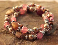 Pink Bracelet Brown Beaded Stretch Bracelet Silver Jasper Stone. $32.95, via Etsy.