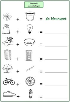 Oefening : samenstellingen (1). Combineer de twee geïllustreerde woorden om een samenstelling te maken.