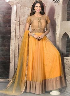 Gleaming Yellow Gold Net With Hand Work Design Anarkali Suit http://www.angelnx.com/Salwar-Kameez/Anarkali-Suits