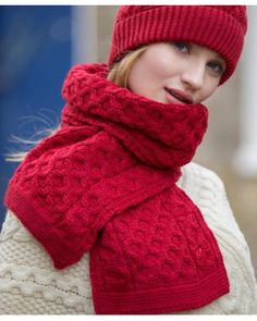 44bac1ca94fbf Irish Sweaters Aran Sweater Irish cable knitted hat is made from merino wool  and is guaranteed to keep you warm. It has a matching honeycomb scarf