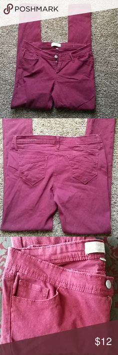 Rue21 Burgundy Skinny Leg Pants IN EXCELLENT CONDITION.  NO FLAWS. SIZE 5/6  COLOR MORESO 2nd PHOTO. they are a true burgundy or maroon color. I think will fit if you wear a 4 as well. Or 3/4 Rue21 Pants Skinny