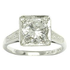 Michael Rose - Burlington Arcade - Brilliant cut diamond solitaire ring, set in a square collet...