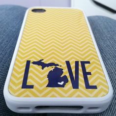 University of Michigan Maize and Blue State Love Cheveron iphone samsung ipod case #goblue Wolverines