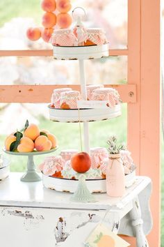 Three Tiered Stand at a Sweet as a Peach Peaches and Cream Birthday Party by Kara's Party Ideas It is as sweet as the title implies! Kara from Kara's Party Ideas does it again with this deliriously gorgeous Peaches and Cream Birthday Party! Birthday Party For Teens, 1st Birthday Girls, Birthday Party Themes, Birthday Ideas, Birthday Centerpieces, Peach Cookies, Peach Baby Shower, Peach Party, Little Peach