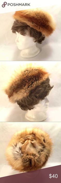 Fox Fur Hat Fun genuine fox fur hat.  Swiss made by Caravelle.  I also have a fox fur coat listed.  This hat goes with it beautifully.  (h-14) Caravelle Accessories Hats