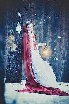 fantasy, fairytale, forest maiden, red riding hood