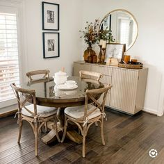 I love the amber vibes and this Restoration Hardware table with bistro chairs! Bistro Chairs, Side Chairs, Room Chairs, Round Dining Table, Dining Room Table, Home Office, Restoration Hardware Table, Modern French Country, Diy Zimmer
