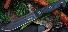 Kizlyar Supreme Maximus Camp Knife for sale wit AUS8 Stainless Steel Blade and black titanium finish.