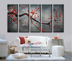 Hand Painted Flower Oil Painting On Canvas 5 pc Abstract Pink Cherry Blossom Large Modern Wall Art Office Decoration Picture Set US$ 124.00/set http://i01.i.aliimg.com/wsphoto/v0/32247330039_1/5-Piece-Cherry-Blossom-Paint-Abstract-Red-Flower-Oil-Handpainted-Canvas-Wall-Art-Picture-Painting-Modern.jpg